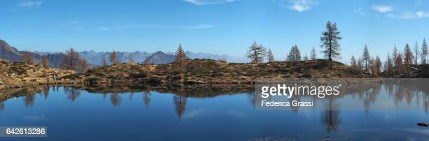 large size panoramic view of lake salei, onsernone valley, ticino, switzerland - larch tree stock pictures, royalty-free photos & images