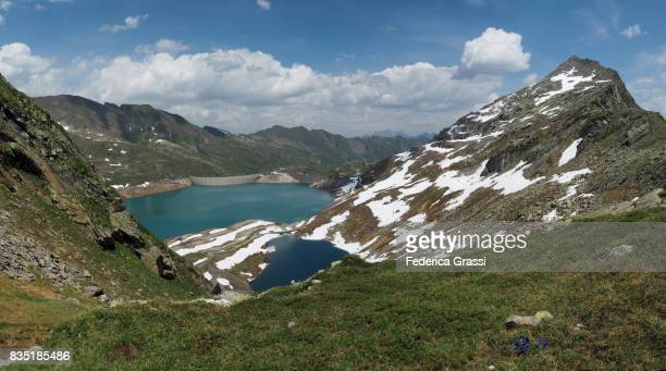 Large size panoramic view of Naret Lake and Naret Mountain Pass in the High Maggia Valley, Canton of Ticino, Southern Switzerland.