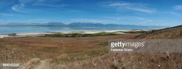large size panoramic view of the great salt lake from antelope island state park - great salt lake stock pictures, royalty-free photos & images