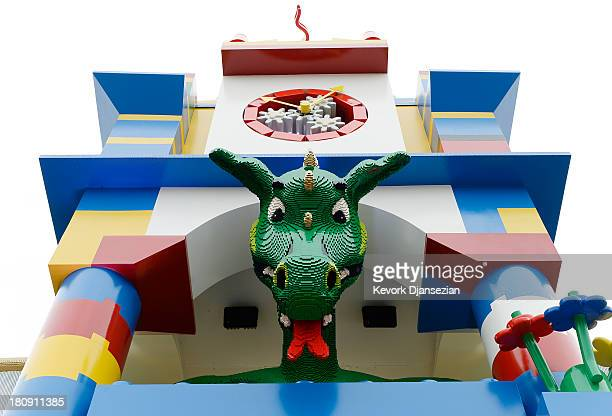 A large smokebreathing Lego dragon is seen at the entrance of North America's first ever Legoland Hotel at Legoland on September 17 2013 in Carlsbad...