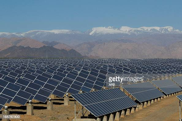 Large Solar Panels Are Seen In A Solar Power Plant In Hami