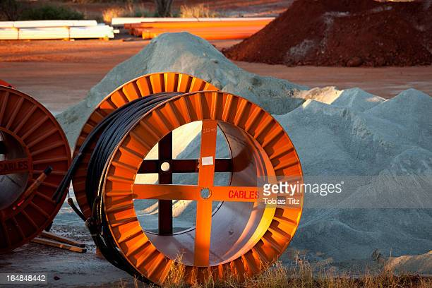 Large spools of cable at a mine