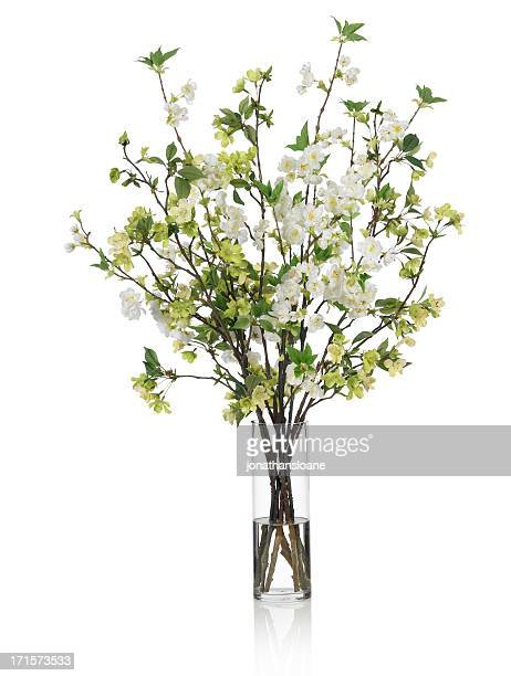 Large Spring bouquet with green and white flowers on white background