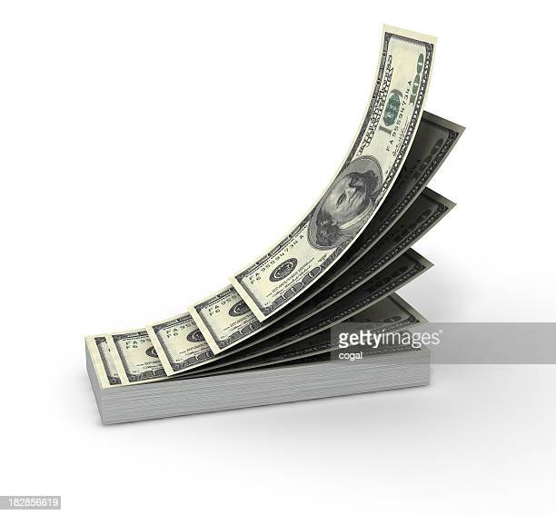 A large stack of dollar bills on a white background