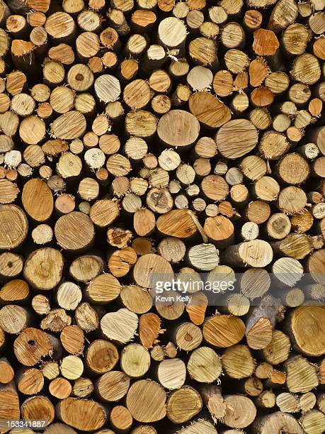 A large stack of firewood, full frame