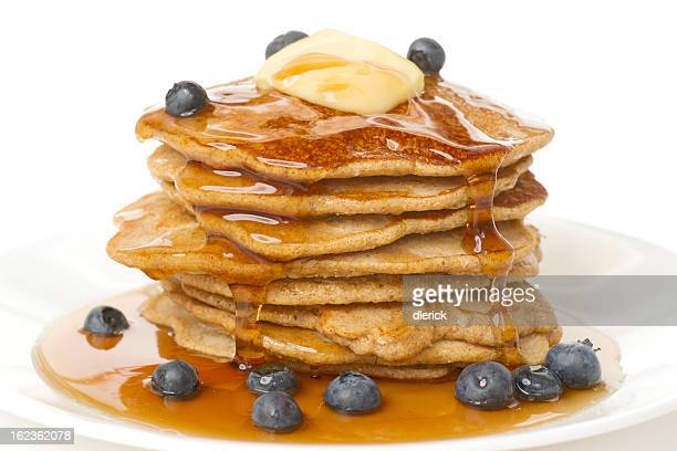 Large Stack of Pancakes with Butter,Syrup and Blueberries