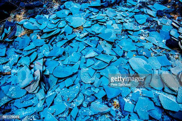 large stack of raw blue slate fragments - northern norway stock pictures, royalty-free photos & images