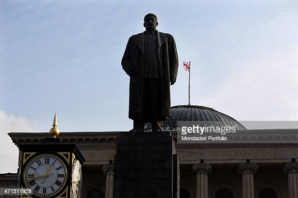 A large statue of Joseph Stalin six meters high stands out outside the town hall in the main square of the hometown of the Soviet dictator where the...