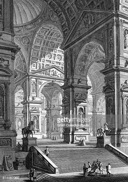 Large statues gallery Italy 1749 This print by John WiltonEly depicts an imagined architectural feature from an etching by the Italian artist...