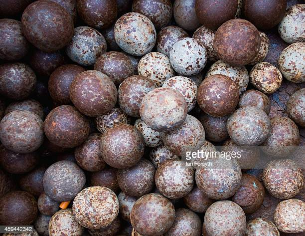 Large steel balls used to break down the potash are stored in a container at the surface works of Cleveland Potash mine on November 20 2014 in Boulby...