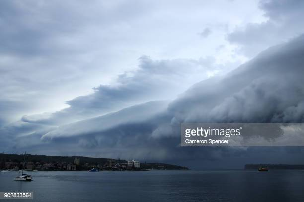 A large storm front crosses Sydney Harbour on January 9 2018 in Sydney Australia Heavy wind rain and severe hailstorms are expected throughout...