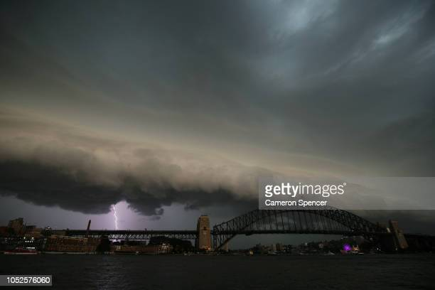 A large storm front makes it's way towards the city ahead of the Invictus Games Sydney 2018 Opening Ceremony at Sydney Opera House on October 20 2018...