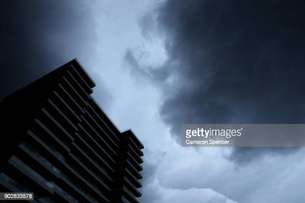 A large storm front passes over Manly Beach on January 9 2018 in Sydney Australia Heavy wind rain and severe hailstorms are expected throughout...