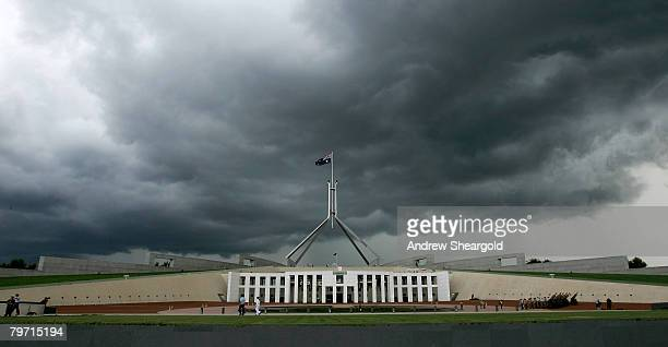 A large storm gathers over Parliament House on the opening of the 42nd Parliament on February 12 2008 in Canberra Australia
