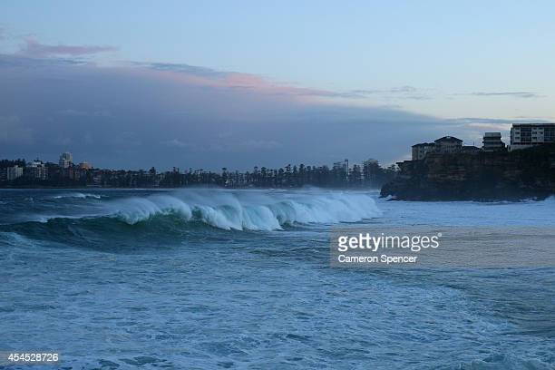 Large swell hits Freshwater beach on September 3 2014 in Sydney Australia Sydney's beaches and the harbour have been hit by large swells and winds as...