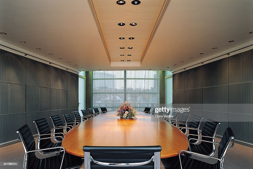 Large table in boardroom : Stock Photo