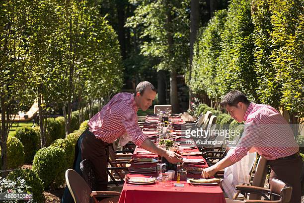 A large table is set to entertain over thirty people at the home of Greta De Keyser and Bart Vandaele's home in Alexandria Virginia on September 06...