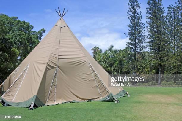 large teepee on green grass - rafael ben ari stock-fotos und bilder