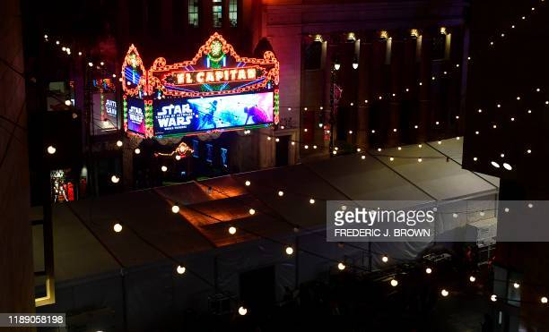 """Large tent that hosts the red carpet event for the world premiere of Disney's """"Star Wars: Rise of Skywalker"""" is pictured at the TCL Chinese Theatre..."""