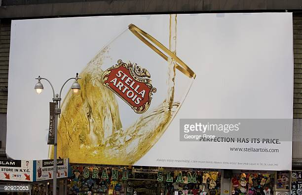 A large Times Square billboard promoting Stella Artois beer is seen in this 2009 New York NY early evening cityscape photo