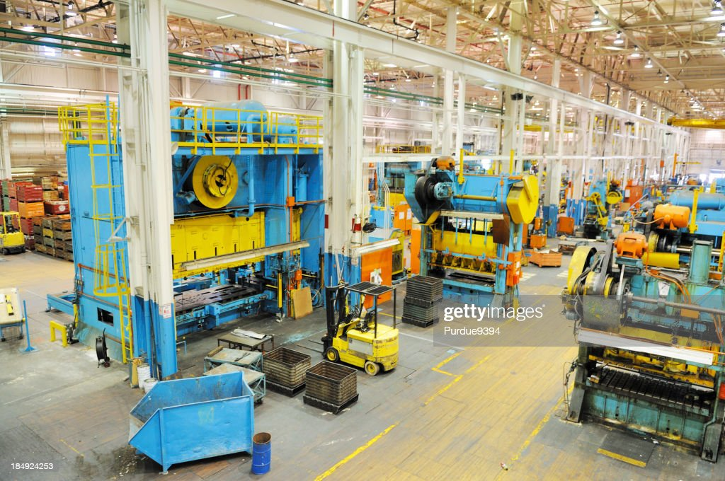 Large Tonnage Metal Press Shop Industry in American Manufacturing Factory : Stock Photo