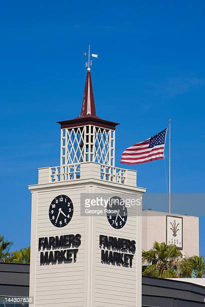 A large tower greets visitors to the famed Farmers Market near The Grove on April 26 2012 in Los Angeles California Millions of tourists flock to the...