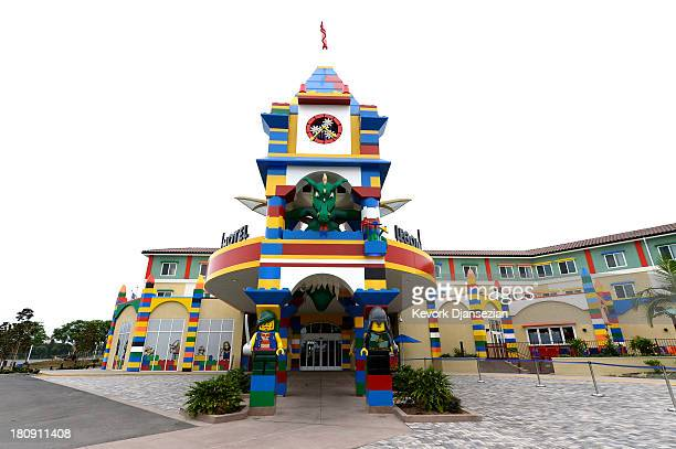 A large tower is seen at the entrance of North America's first ever Legoland Hotel at Legoland on September 17 2013 in Carlsbad California The...