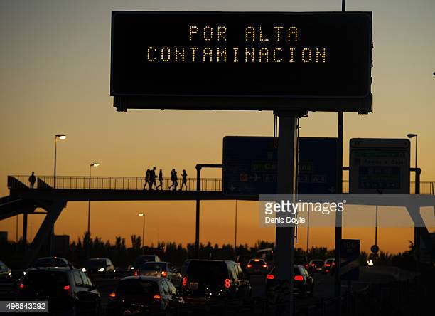A large traffic sign reads ''Because of high contamination'' after Madrid City Council reduced the speed limit to 70km per hour on roads approaching...
