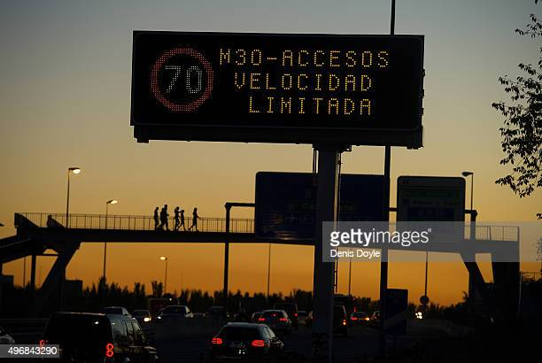 A large traffic sign reads ''M30 Turnoff Speed Limited to 70km/h' after Madrid City Council reduced the speed limit on roads approaching and around...