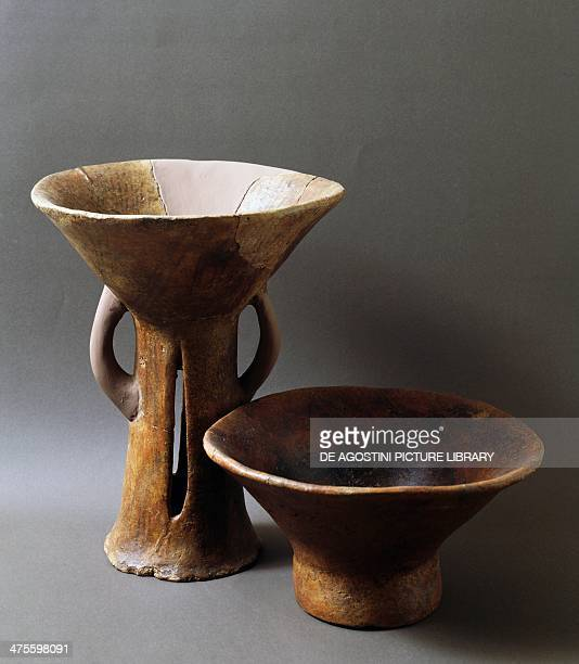 Large truncated conical terracotta bowl and terracotta fruit bowl once belonging to the Castelluccio culture from the Necropolis of Montserrat...