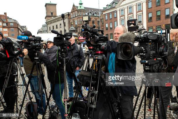 Large turnout of national and international media wait for the pronouncement of sentence in the case against submarine owner Peter Madsen for...