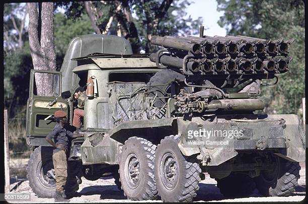 Large vehicle being used by rebel troops at UNITA headquarters