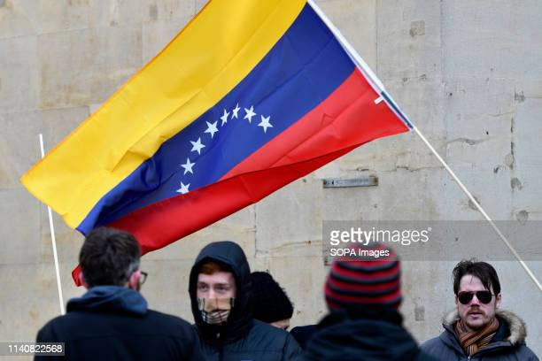 A large Venezuelan flag is seen waving during the hands off Venezuela protes in London Protesters gathered outside BBC to protest its biased...