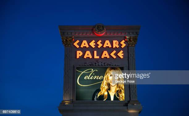 A large video billboard promoting Celine Dion's show at Caesars Palace is viewed on May 29 2017 in Las Vegas Nevada Tourism in America's Sin City has...