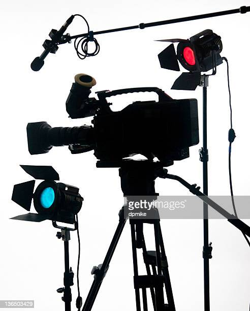 Large video camera on white