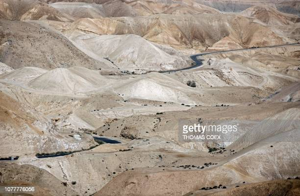 Large view of the Judaean desert in the West Bank near Nabi Musa between Jerusalem and Jericho on January 5 2019