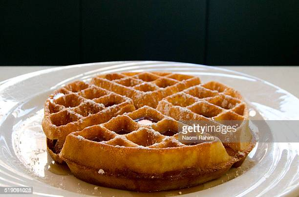 Waffle with maple syrup in New York