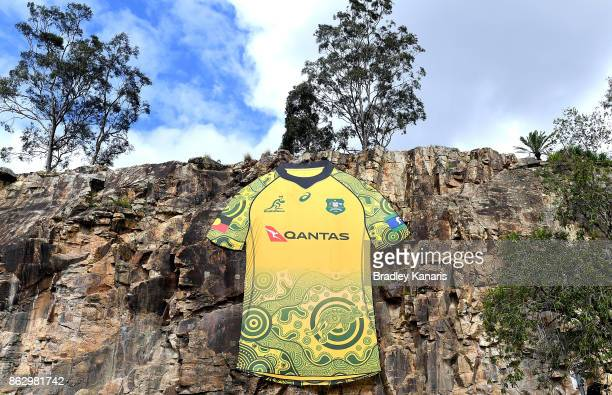 A large Wallabies jersey with an indigenous art design on the front is seen during the Australian Wallabies media opportunity at Kangaroos Point...
