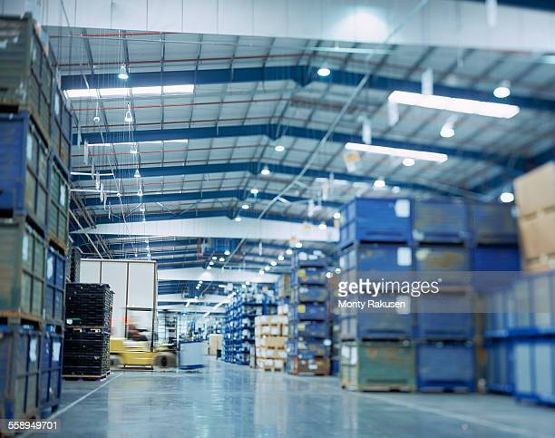 Large warehouse in car factory, low angle view