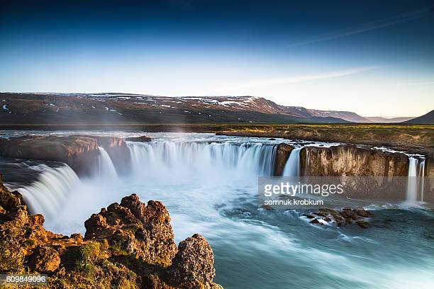 Large waterfall in summer;Iceland