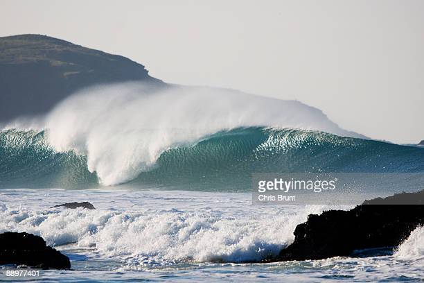 Large wave breaks at Fistral beach