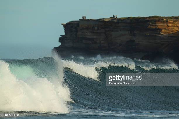 A large wave breaks at Tamarama Beach on May 1 2011 in Sydney Australia A strong eastsoutheast swell has developed along the NSW coastline with waves...