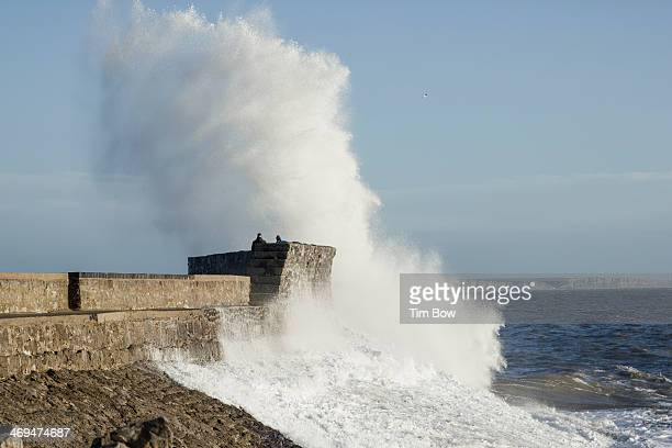 Large wave hits Porthcawl pier, in one of the large winter storm swells of UK winter 13/14.