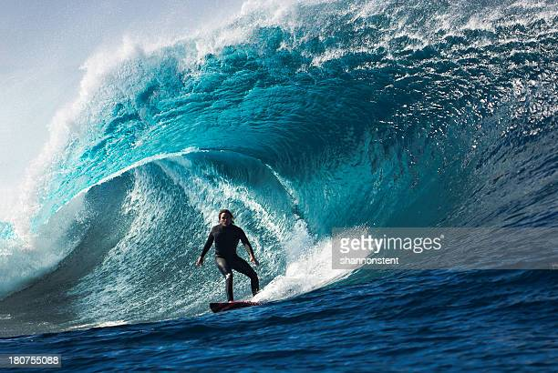 large wave with surfer in tunnel wave - surf stock pictures, royalty-free photos & images
