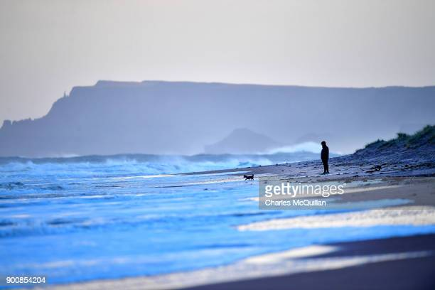 Large waves batter the beach at Portrush after Storm Eleanor on January 3 2018 in Portrush Northern Ireland The Met Office has said that Storm...