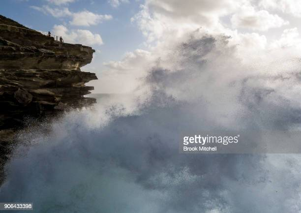 Large waves crash along the Bondi to Bronte walk on January 17 2018 in Sydney Australia The Bureau of Meteorology has issued a Hazardous Surf Warning...