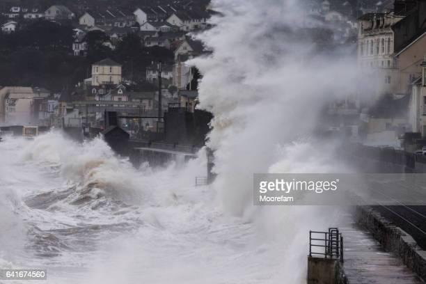 Large waves crashing over railway at Dawlish Devon