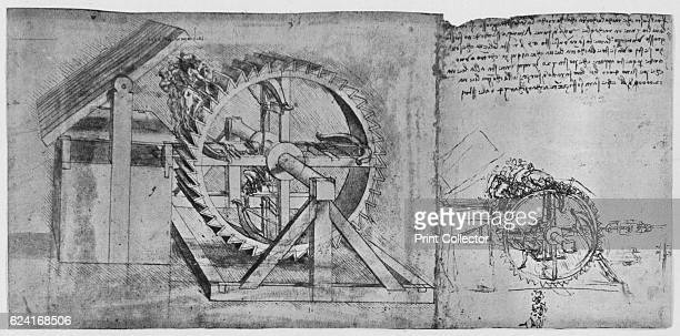 A Large Wheel Which Is Resolved and Fires Four Crossbows in Succession and a Sketch for the Same' c1480 From The Drawings of Leonardo da Vinci...
