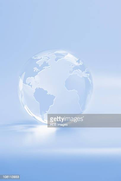 Large, white glass globe