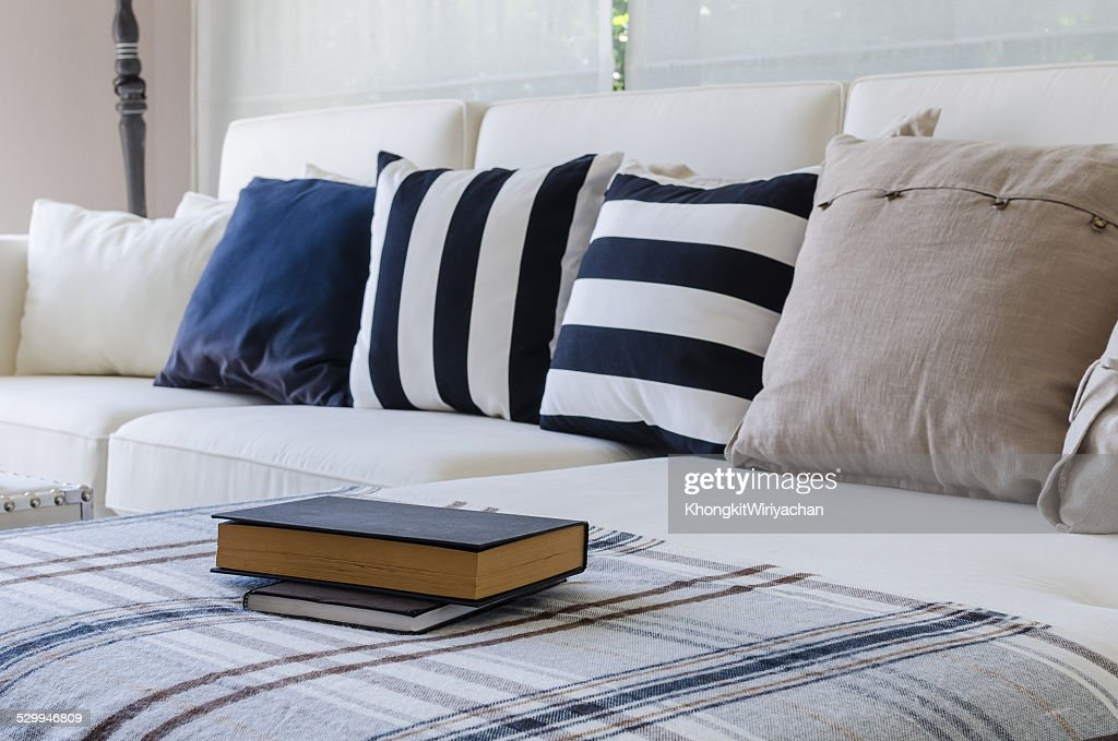 Awesome Large White Sofa With Pillows In Living Room Stock Photo Squirreltailoven Fun Painted Chair Ideas Images Squirreltailovenorg